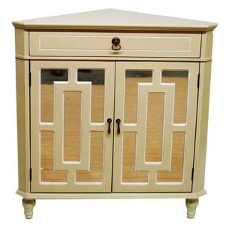 Becker Wooden Single-drawer 2-door Corner Cabinet w/ Lattice Mirror Inserts