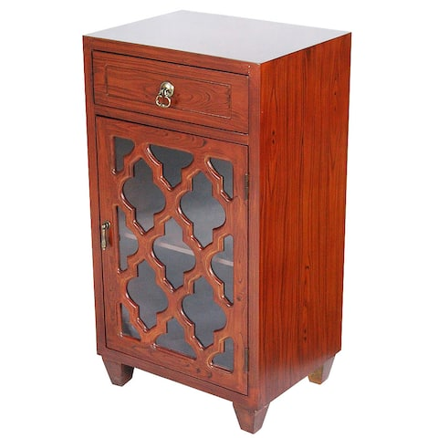Single Drawer Distressed Storage Cabinet with Multi Clover Glass Window Inserts