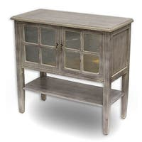 Vivian 2-door Console Cabinet with Pane Mirror Inserts and Shelf
