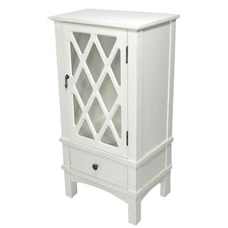 Cottage White 1-door 1-drawer Accent Cabinet with Lattice Glass Inserts