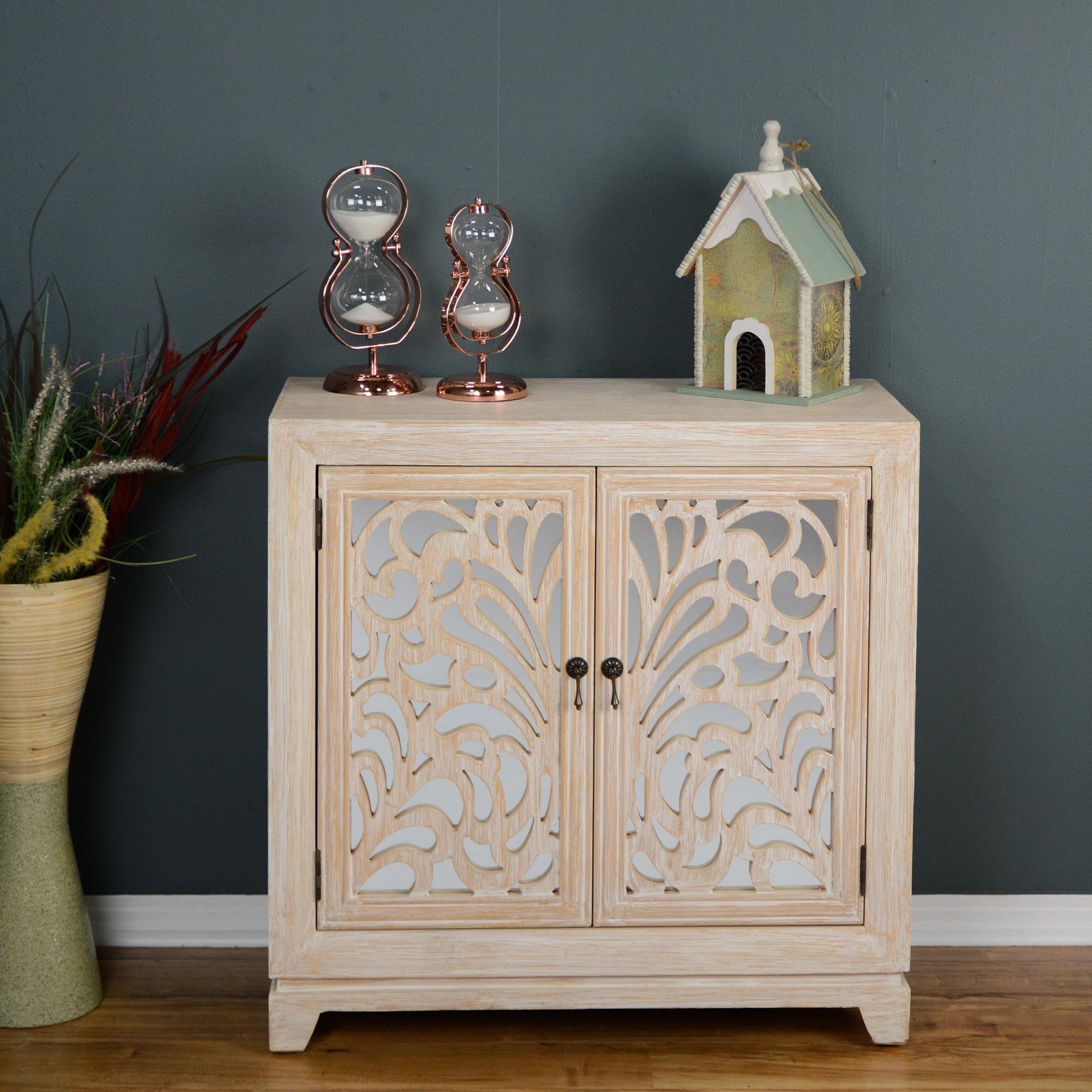Marrakesh White/ Grey Wooden 2-door Sideboard with Mirror...