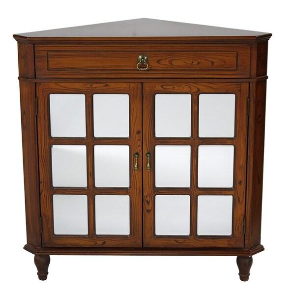 shop vivian 1 drawer 2 door corner cabinet with paned mirror inserts rh overstock com Living Rooms with TV in Corner Corner Storage