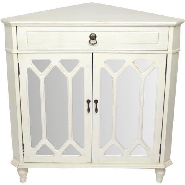 Dorset 1-drawer 2-door Corner Cabinet with Hexagonal Mirror Inserts ...