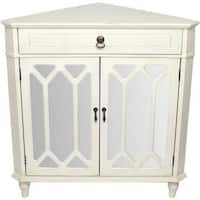 Dorset 1-drawer 2-door Corner Cabinet with Hexagonal Mirror Inserts