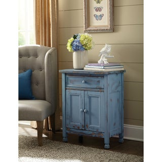 Alaterre Blue Wood Country Cottage Accent Cabinet