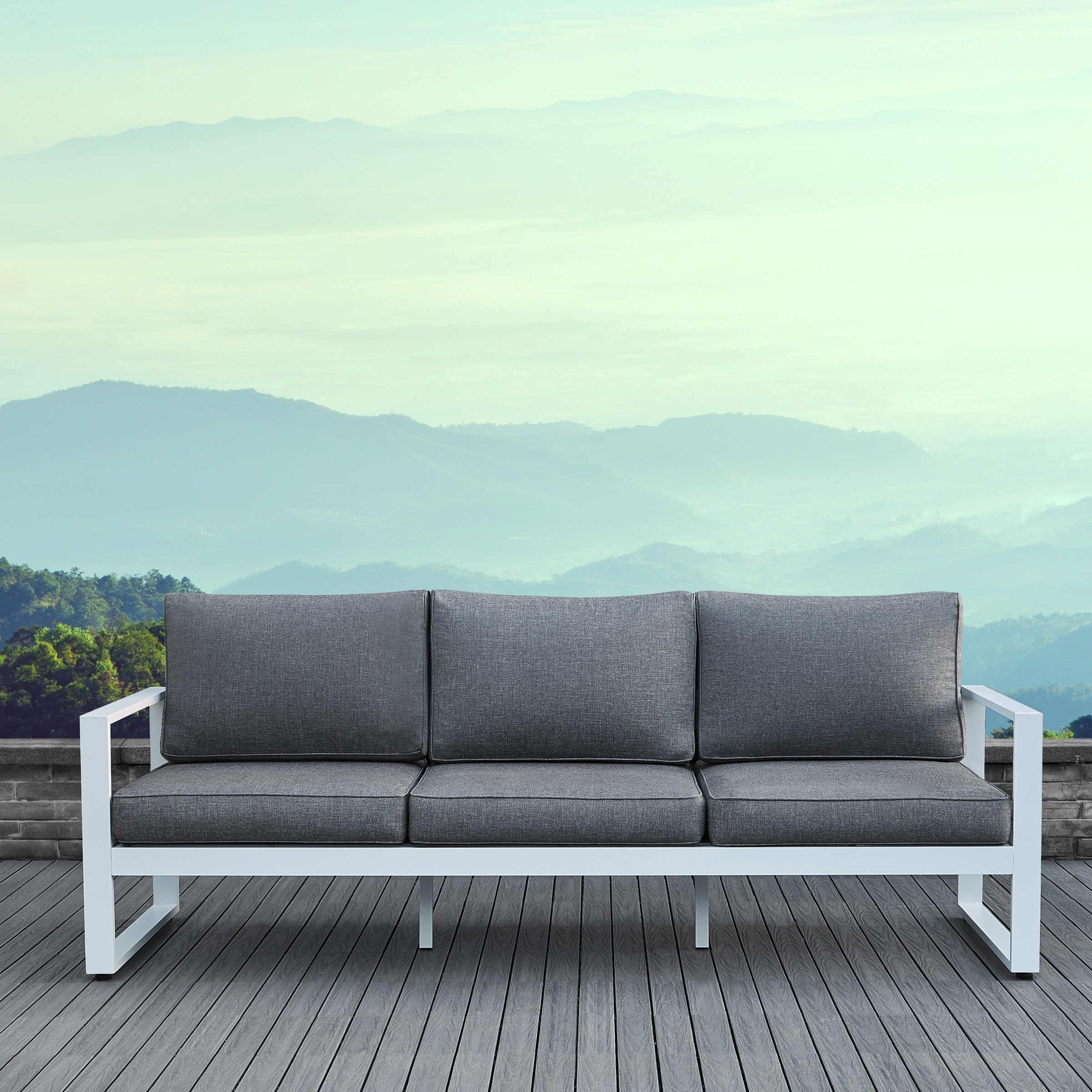 Shop Baltic Grey and White Outdoor Sofa by Real Flame - Free ...