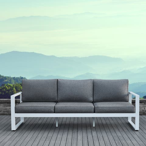 Baltic Grey and White Outdoor Sofa by Real Flame