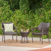 Dover Outdoor 3-Piece Wicker Stacking Chair Chat Set by Christopher Knight Home