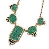 Sweet Romance Green Jadeite Glass Art Deco Necklace