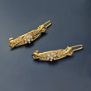 Sweet Romance Little Girls Pair of Gold Hair Barrettes Clips