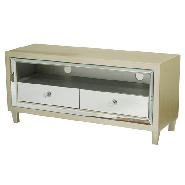 Shop Avery Wood And Glass 2 Drawer Mirrored Tv Stand Free Shipping