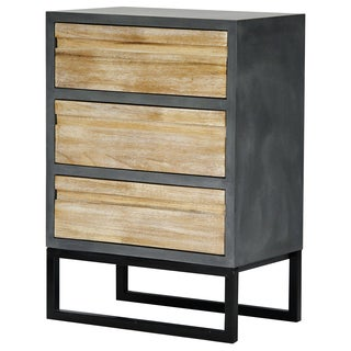 Nova Grey and Natural 3-drawer Accent Chest