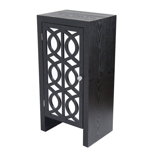 Ellington 1-drawer Accent Cabinet With Carved Trellis Front and Mirror Accents