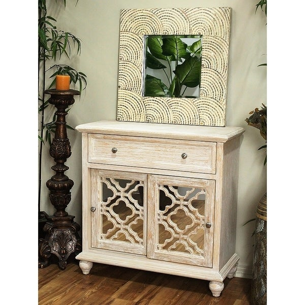 Marrakesh White/Brown Wood/Glass 2-Door 1-Drawer Sideboard with Mirror Inserts. Opens flyout.