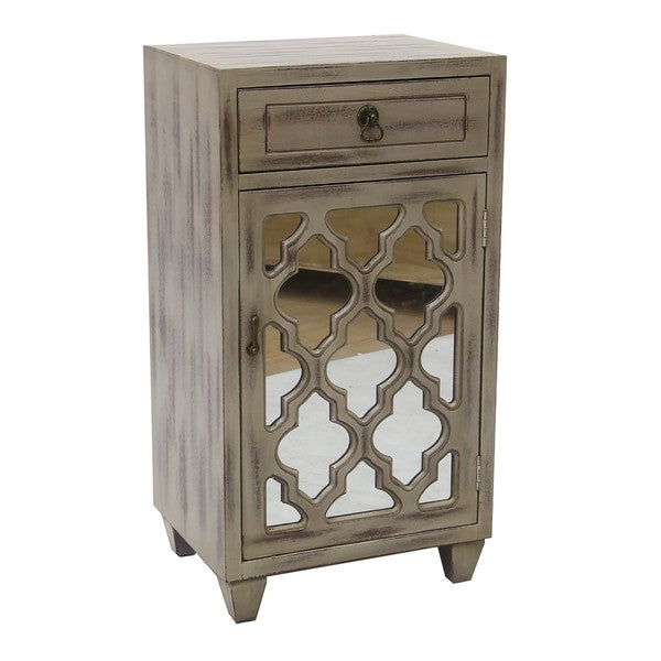 Aria 1-drawer, 1-door Accent Cabinet with Arabesque Mirror Inserts