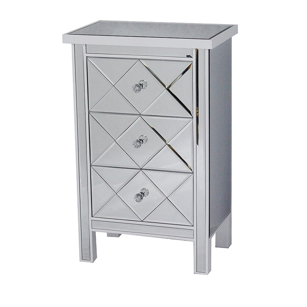 Emmy White 3-drawer Mirrored Accent Chest