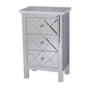 Emmy White 3-drawer Mirrored Accent Chest