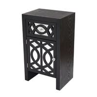 Ellington Black 1-drawer 1-door Accent Cabinet with Carved Trellis Front and Mirror Accents