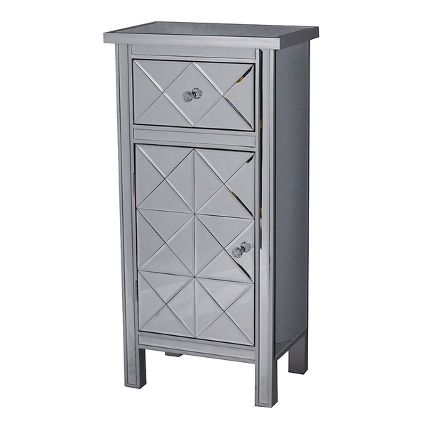 Emmy Tall 1-door 1-drawer Mirrored Accent Cabinet