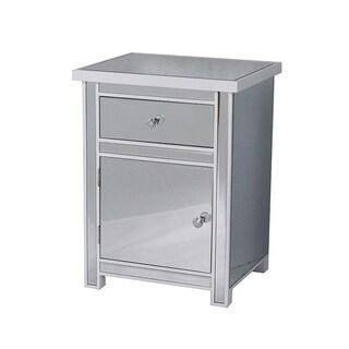 Emmy White 1-drawer, 1-door Mirrored Accent Cabinet
