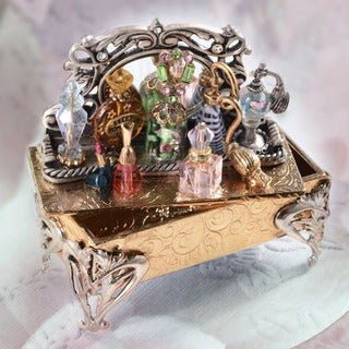 Sweet Romance Collectible Vintage Perfume Vanity Tray Miniature Storybox