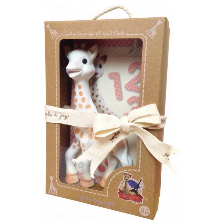 VULLI Set Sophie La girafe and 1, 2, 3 Book (Brown, White)
