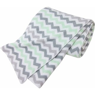 American Baby Company 100 Percent Cotton Sweater Blanket - Zigzag Grey/Celery