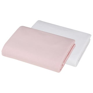 American Baby Company Cotton Value Pink and White Jersey Knit Crib Sheet (Pack of 2)