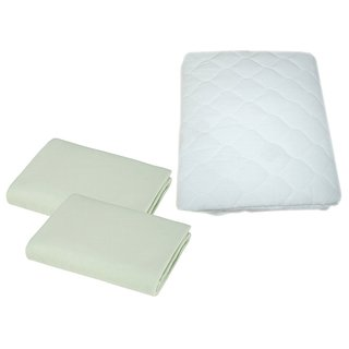 American Baby Company Supreme Jersey Portable Crib Sheet 2 Pack with Waterproof Mattress Pad - Celery