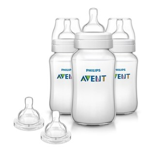 Philips Avent 11 Ounce Anti-Colic Baby Bottle 3 Pack with Fast Flow Nipples