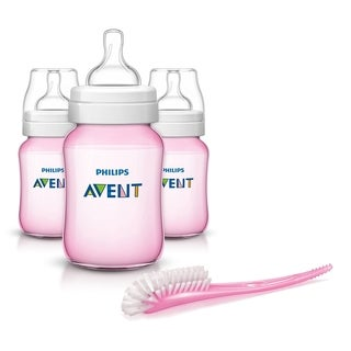 Philips Avent 9 Ounce Anti-Colic Baby Bottle 3 Pack with Bottle Brush - Pink