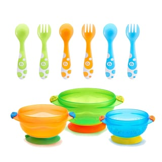 Munchkin Stay Put Suction Bowls with Multi Fork Spoon Set