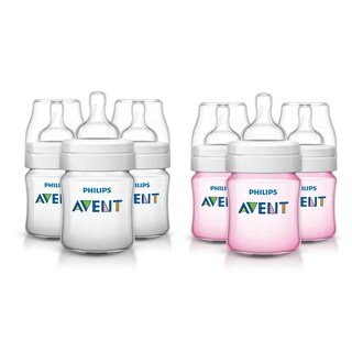 Philips Avent Anti-Colic Bottle - 4 Ounce - 6 Pack - Clear/Pink