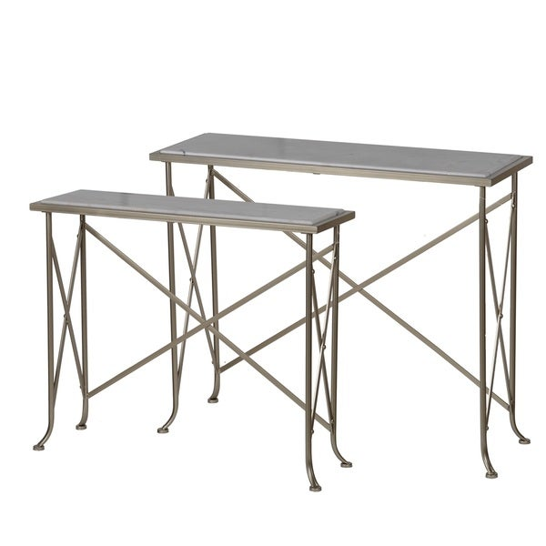 Shop Natick Antique Brass And Marble Top Nesting Console Tables   On Sale    Free Shipping Today   Overstock   16634968