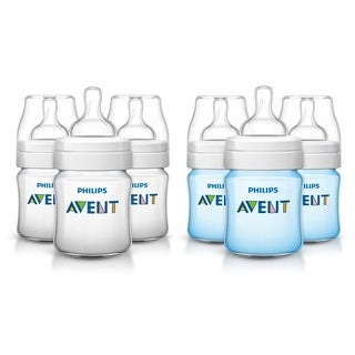 Philips Avent Anti-Colic Bottle - 4 Ounce - 6 Pack - Clear/Blue