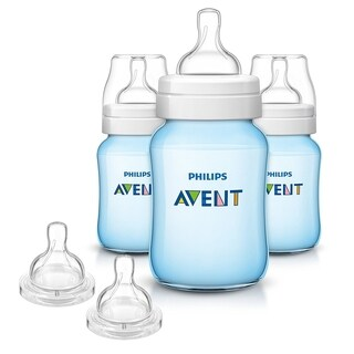 Philips Avent 9 Ounce Anti-Colic Baby Bottle 3 Pack with Fast Flow Nipples - Blue