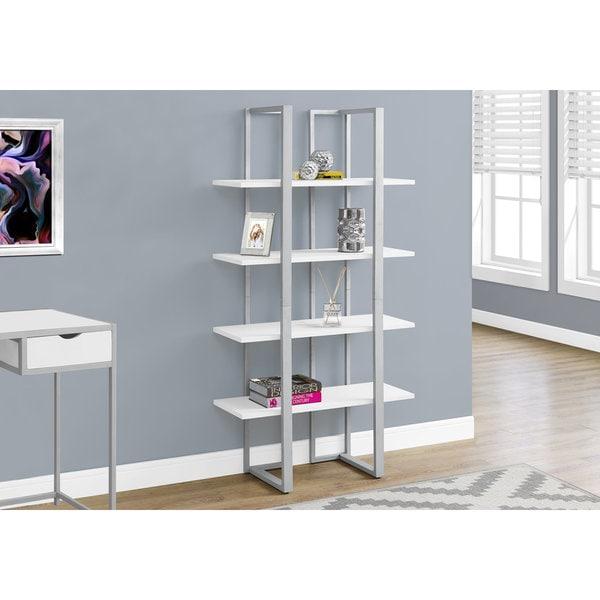 Shop White And Silver Metal 4-tier Open-shelf Bookcase