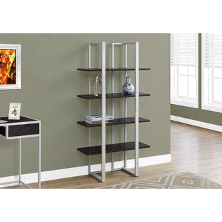 Cappuccino and Silver 60-inch High Bookcase