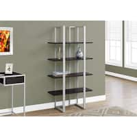 Cappuccino and Silver 60-inch High Bookcase
