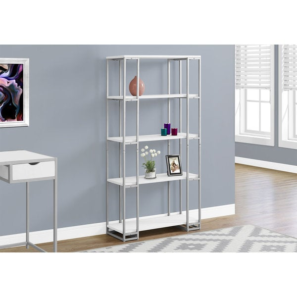 Shop White/Silver Metal 60-inch High Bookcase