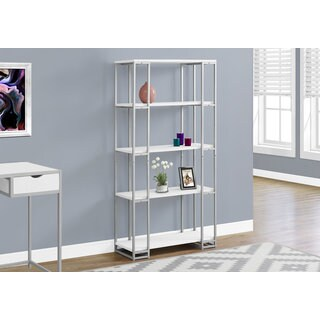 White/Silver Metal 60-inch High Bookcase