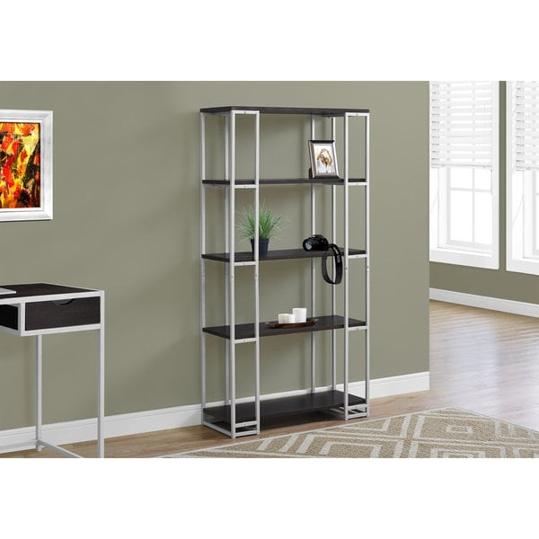 Shop Silver And Brown Metal 4-tier Open-shelf Bookcase