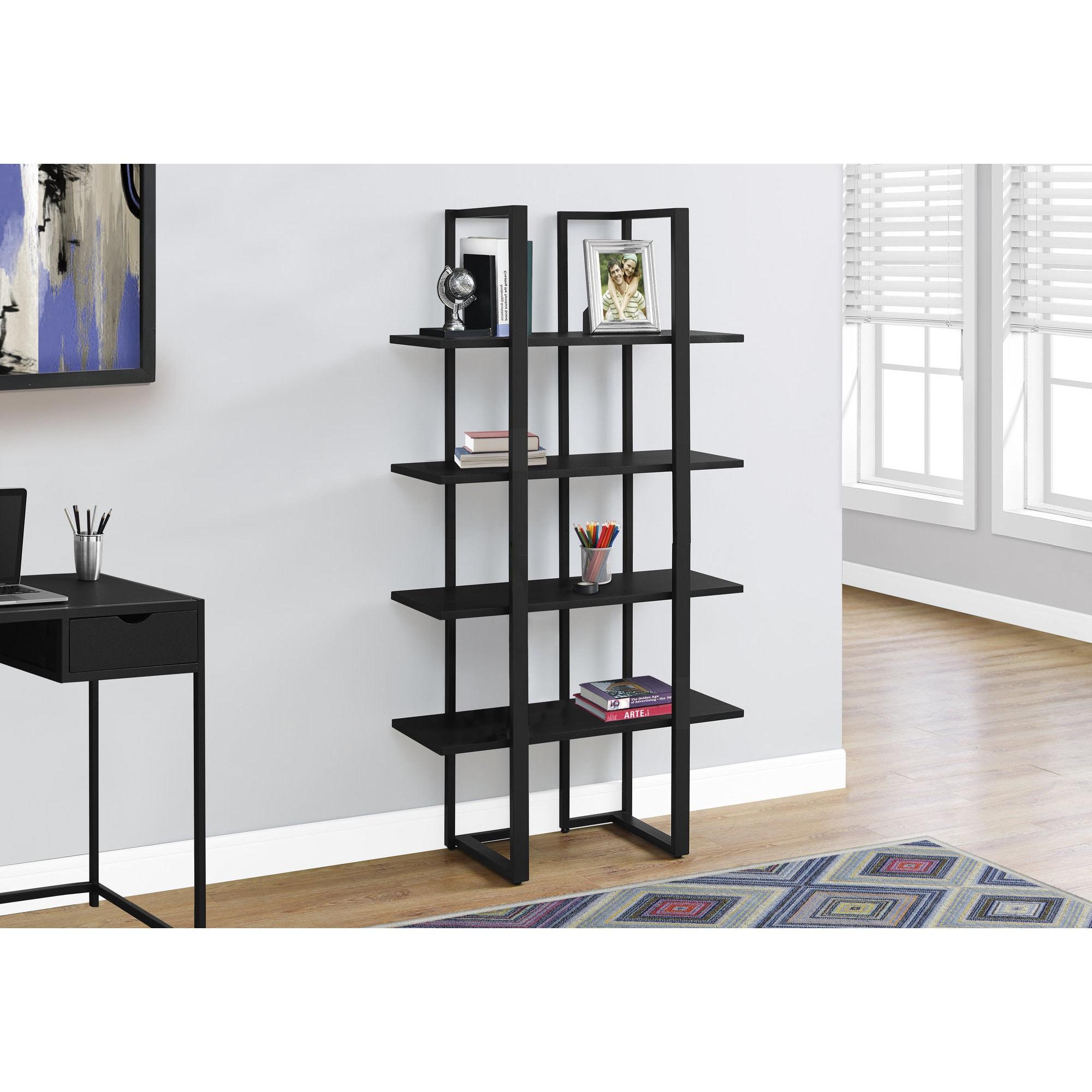 Black 60 Inch High Bookcase