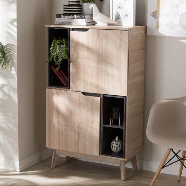 Two Tone Kitchen Cabinets Oak: Mid-Century Two-Tone Oak And Grey Wood Storage Cabinet By