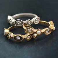 Sweet Romance Set of 3 Swarovski Crystal Elements Vintage Stacking Rings
