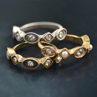 Sweet Romance Set of 3 Swarovski Crystal Elements Vintage Stacking Rings (4 options available)