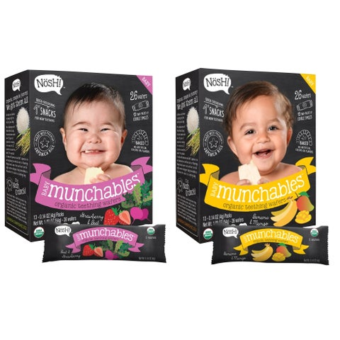 Nosh Baby Munchables Organic Rice Teething Wafers - 26 Piece - Sampler Pack - Strawberry Beet & Banana Mango