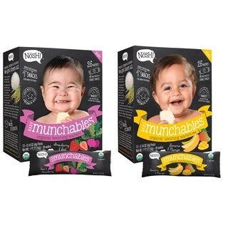 Nosh Baby Munchables Organic Rice Teething Wafers - 26 Piece - Sampler Pack - Strawberry Beet & Banana Mango