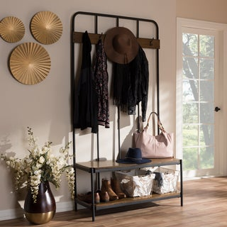 Rustic Black Metal and Wood Entryway Hall Tree by Baxton Studio