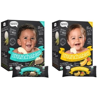 Nosh Baby Munchables Organic Rice Teething Wafers - 26 Piece - Sampler Pack - Simply Rice & Banana Mango